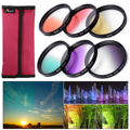 Graduated Color Filter Kit 52mm 58mm Color Filter Contain Blue Yellow Orange Red Green for Nikon D5100 D3200 D3100 LF068-LF498