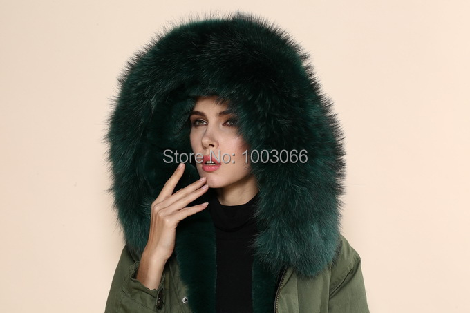 Online Shop New coming blackish green luxury collar ladies parka ...