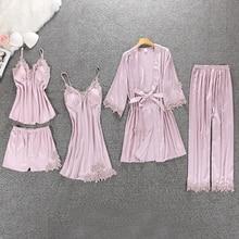 BZEL 패션 5 PCS Pijamas 여성 실키 잠옷 여성 레이스 나이트 가운 섹시한 여성 가운 목욕 가운 숙녀 나이트 드레스 플러스 크기