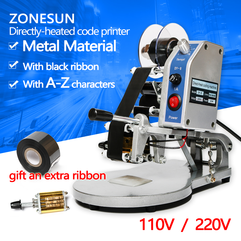 ZONESUN printing machine heat transfer 100% date coding machine DY-8 printer for printing batch number registration mark
