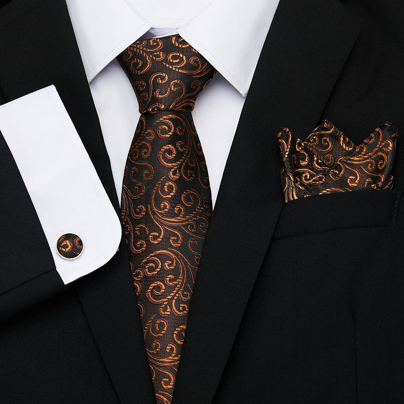 2019 Brown Flroal Men Ties Set Extra Long Size 145cm*8cm Necktie  Blue Paisley Silk Jacquard Woven Neck Tie Suit Wedding Party