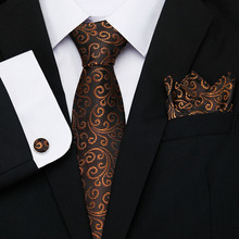 2019 Brown flroal men ties set Extra Long Size 145cm*8cm Necktie  blue Paisley Silk Jacquard Woven Neck Tie Suit Wedding Party