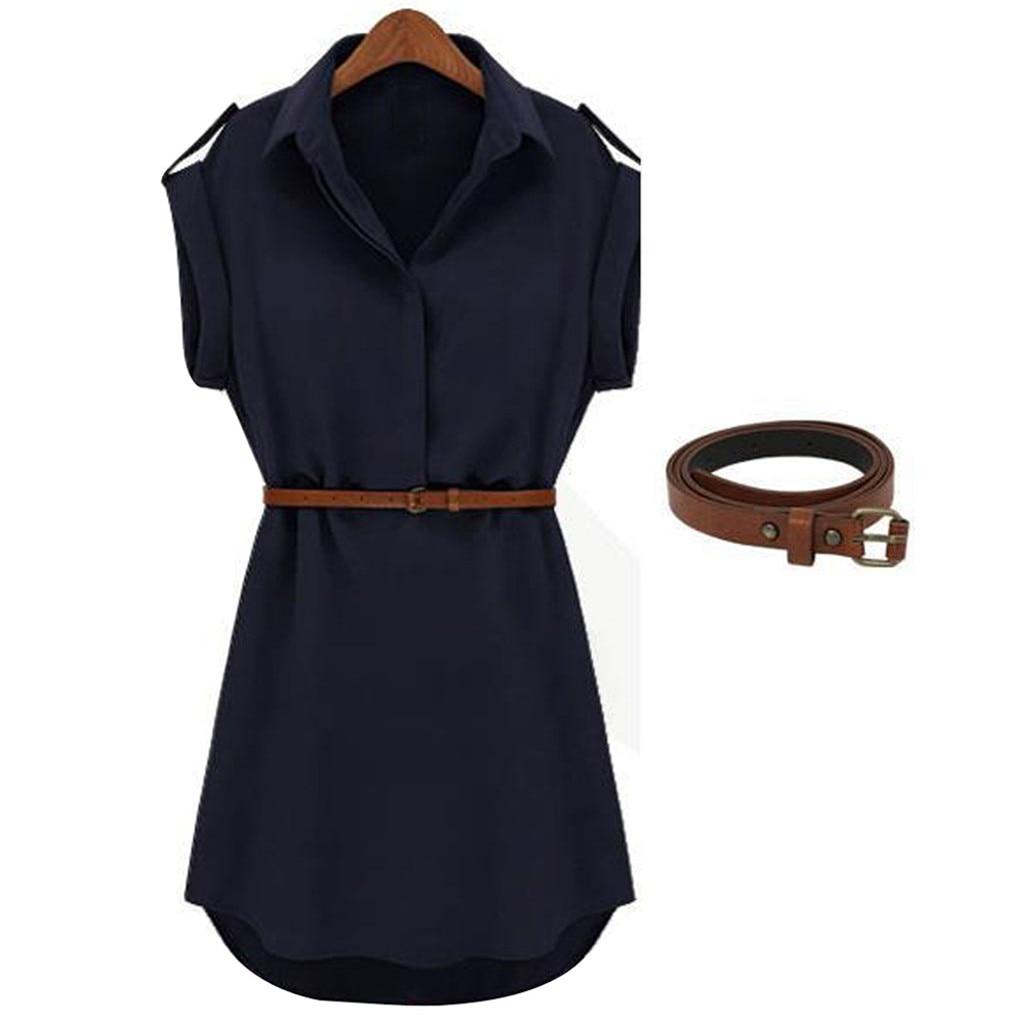 HTB1GZw9cCSD3KVjSZFKq6z10VXas Women Casual Summer Shirt Dress Summer Dress 2019 Loose Short Sleeve Dress With Belt Turn Down Collar Autumn Dress Vestidos #20