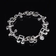 Trendy music notation Link Chain Bracelet Bangles For Women Silver Plated Cuff Jewelry Gift Dropshipping trendy rhinestone arrow shape cuff bracelet for women