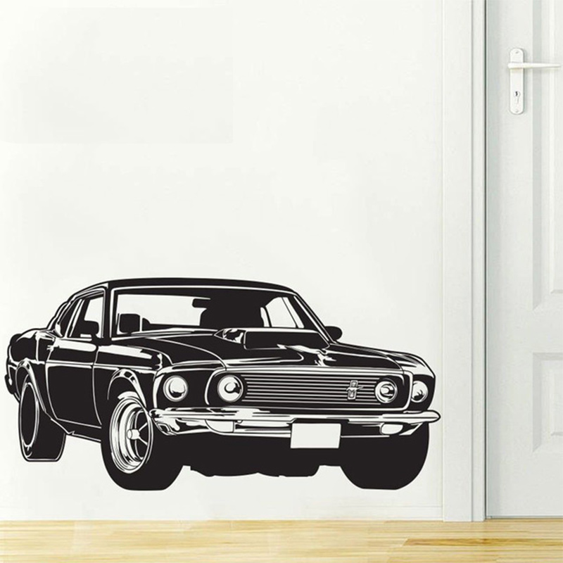 Shelby Gt Ford Mustang Muscle Racing Car Wall Decal Art Home Decor Vinyl Wall Sticker 2