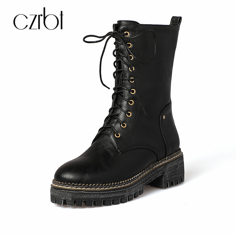 CZRBT Women Boots Autumn Spring High Quality Fashion Comfortable Roun Toe Mid-calf Boots Cross-tied Casual Boot Shoes Big Size 2018 superstar flock runway peep toe slip on fashion brand shoes wedges autumn spring lazy zipper mid calf boots for women l33