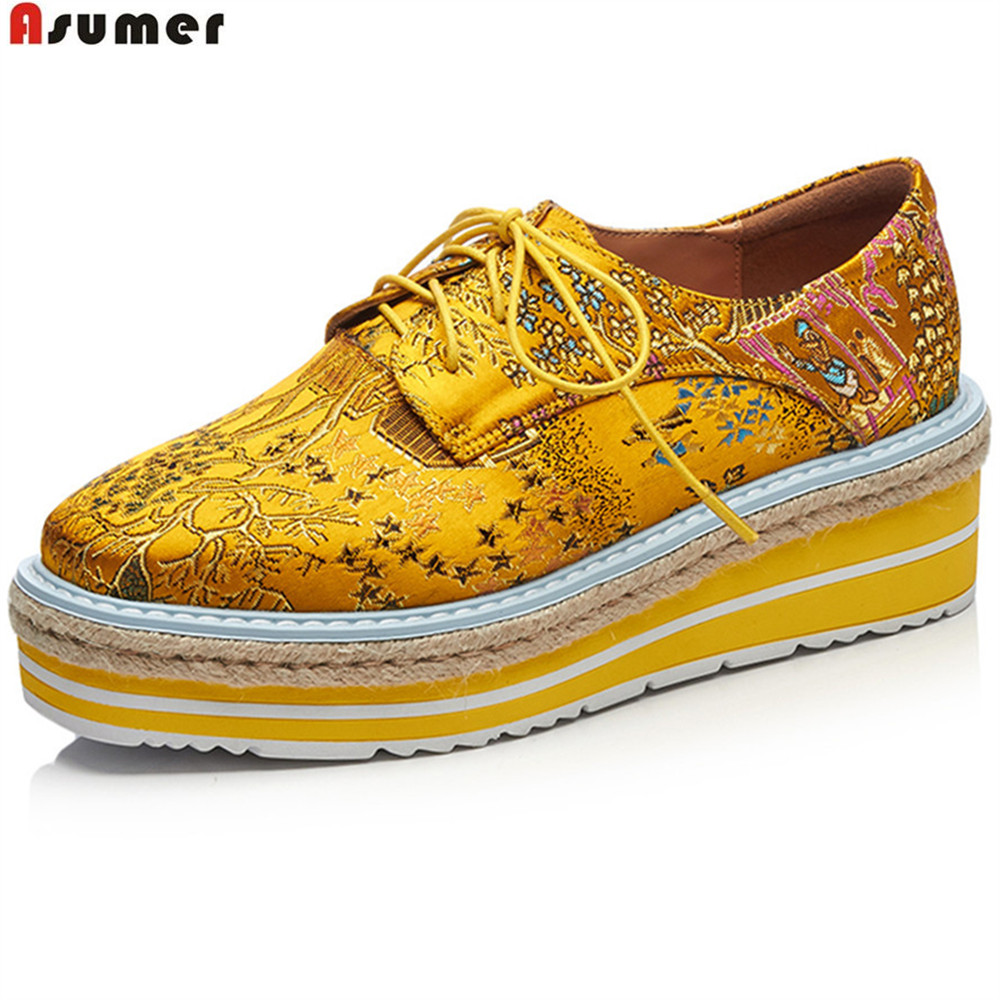 ASUMER black yellow fashion spring autumn new pumps shoes square toe platform wedges shoes for woman leather high heels shoes 3 inch autumn horsehair platform square toe creepers high heels yellow ladies green wedge shoes genuine leather wine red pumps