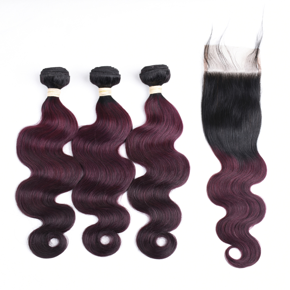 Sapphire Peruvian Ombre Body Wave 3 Bundles With Closure 1B/99J Ombre Human Hair Bundles With Closure Free Part Non Remy