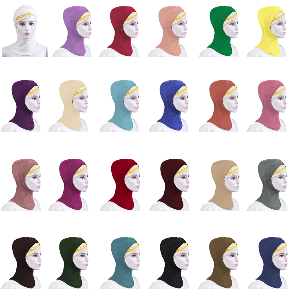 12PCS Women Ninja Head Cover Bonnet Hat Arab Turban Underscarf Muslim Ladies Hijab Inner Cap Scarf Islam 24 Colors Random Color