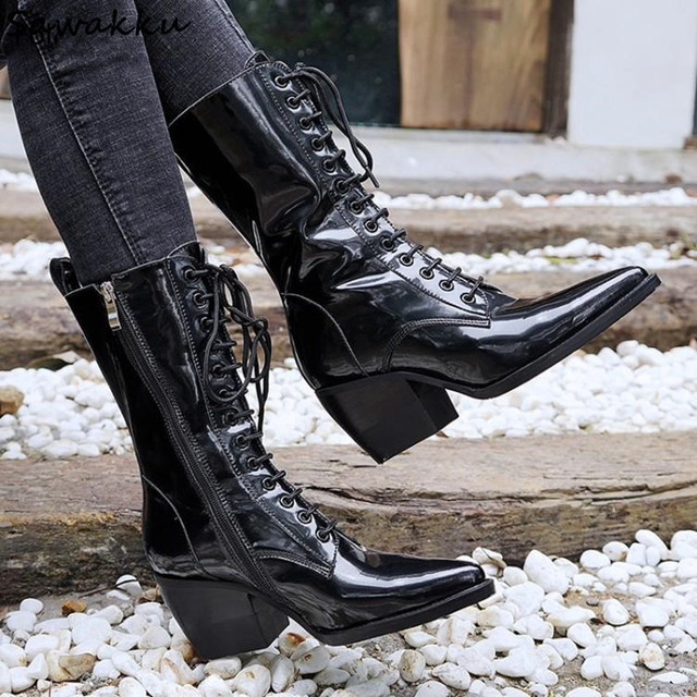 Pointed Toe Lace Up Women Martin Boots Genuine Leather High Top Ankle  Combat Boots Block Heel fba0867ad80b
