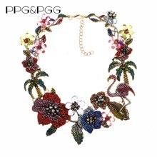 الملونة كريستال حجر الراين الزهور فلامنغو المختنق قلادة للنساء بيان كبير طوق قلادة مجوهرات الإناث