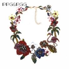 Bunte Kristall Strass Blumen Flamingo Halsband Halskette Für Frauen Aussage Große Kragen Halskette Schmuck Weibliche