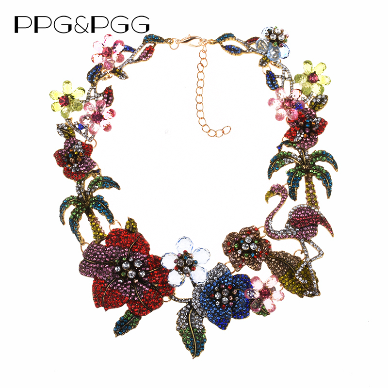 Colorful Luxury Rhinestone Large Choker Necklace Women Indian Statement ZA Necklace Crystal Flower Flamingo Necklace Jewelrydesigner jewelryjewelry designstatement choker -