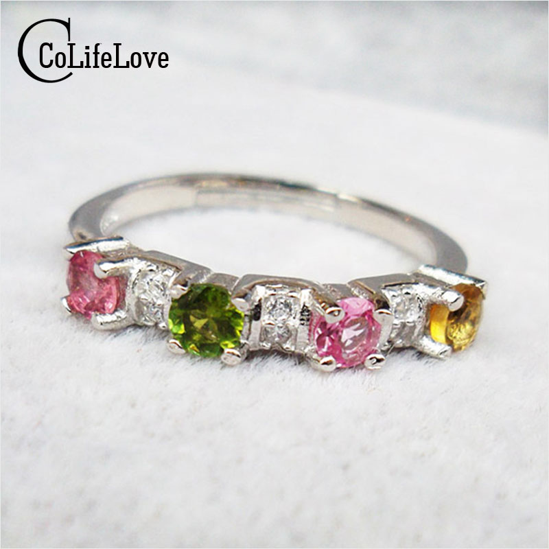2016 fashion 925 silver ring genuine tourmaline stone ring 3 colors 4 pcs 3mm*3mm genuine tourmaline stone girl birthday gift подкладное кольцо zfe 3 100 snap ring 3mm