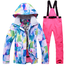 Ski Suit Women Brands High Quality Female Windproof Waterproof Winter Sets Snow Jacket And Pants Skiing And Snowboarding Suits cheap Tringa COTTON Hooded Fits true to size take your normal size Jackets Anti-Wrinkle Breathable Anti-Pilling Anti-Shrink Quick Dry