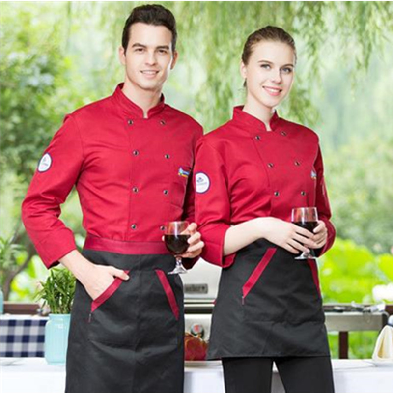 Men and Women Chef's Long Sleeve Outfit Summer Wear Work Clothes Jacket Food Service Clothing Hotel working wear