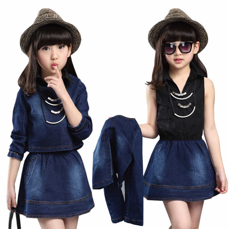 New kids clothes girls cowboy jacket+dress sets 2 piece set children girl dress clothes Spring and summer dress 4-12 years 2016 autumn and spring new girl fashion cowboy short jacket bust skirt two suits for2 7 years old children clothes set