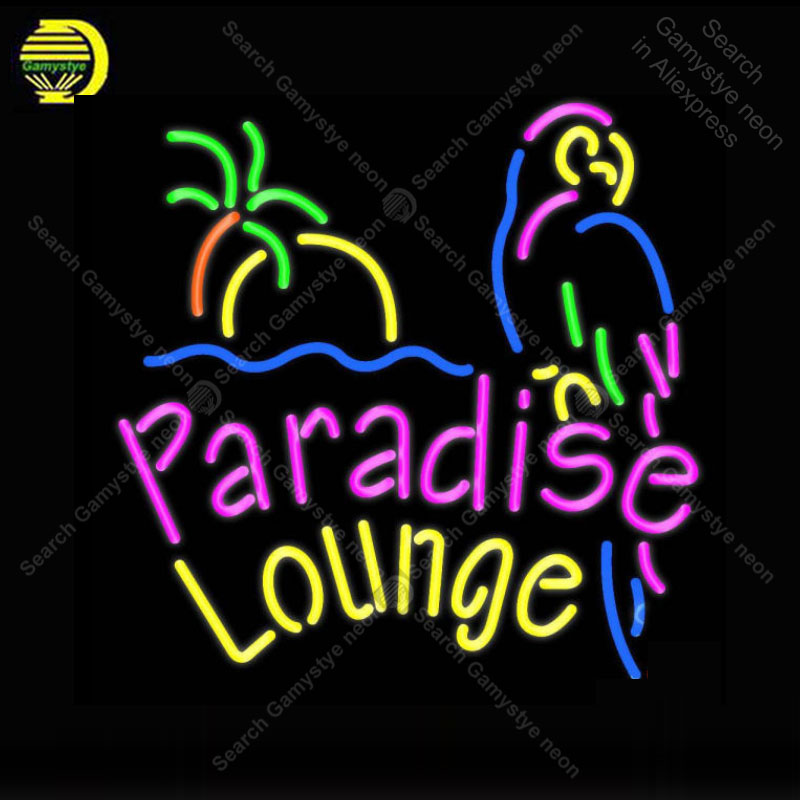 NEON SIGN For Paradise Lounge Parrot NEON Bulbs Sign Lamp Decor Home Wall Room Handcraft Beer light up signs lights for sale|Neon Bulbs & Tubes| |  - title=