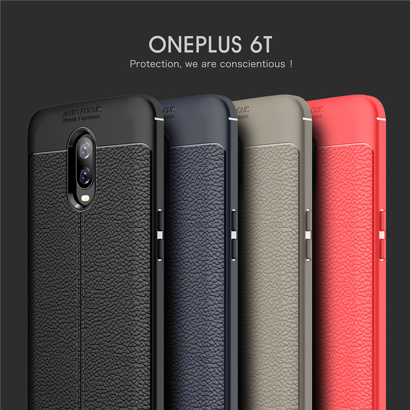 For <font><b>Oneplus</b></font> 6T <font><b>A6013</b></font> Case Ultra Slim Soft Silicone Litchi Skin Pattern TPU Lrather Cover For One Plus 6T 1+6t Protective Case image