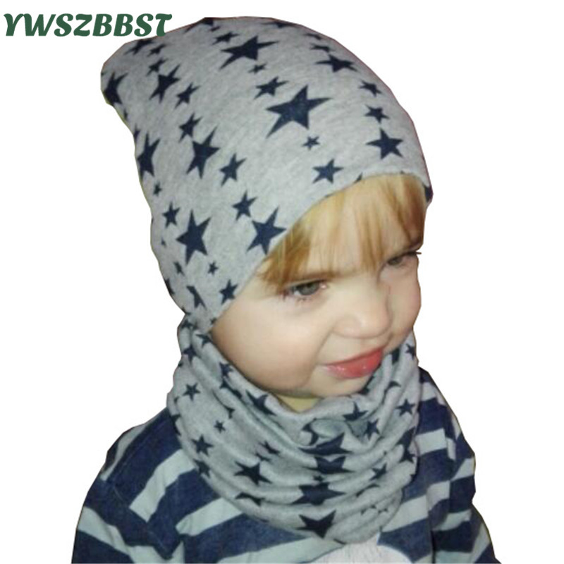 Baby Hat Cotton Infant hat set Fashion Stars Children Hat Scarf Collars Spring Autumn Winter Boys Hat Girls Cap Kids Beanies