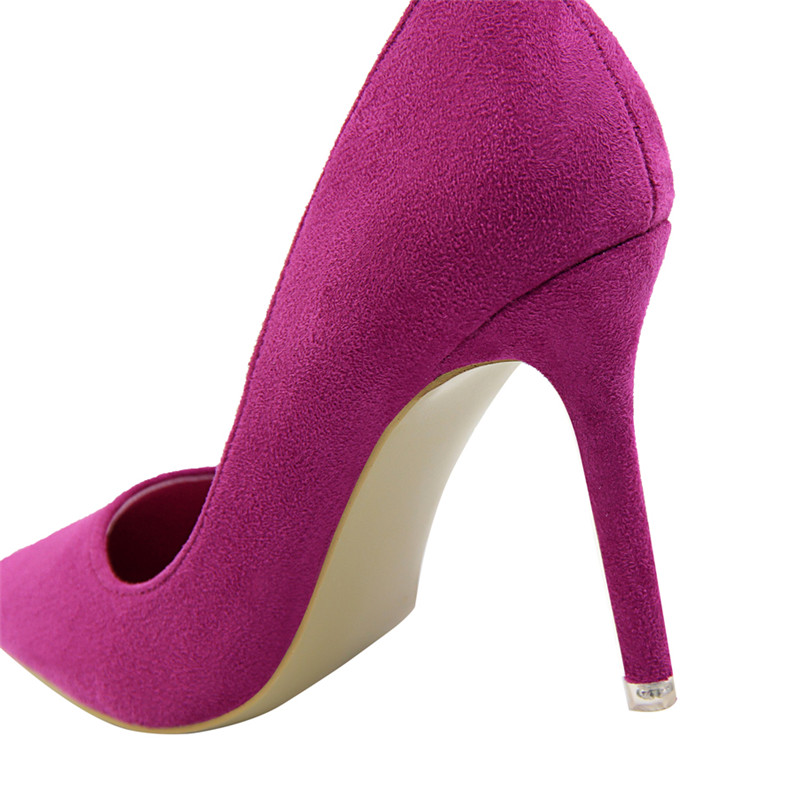{D&Henlu}Women Shoe Purple Shoes Heel Woman Flock High Heels Women Pumps Ladies Office Shoes Pointed Toe Summer Heels 2