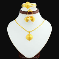 New Arrival Ethiopian Jewelry Sets 24K Gold Plated Necklace Pendant Earring Ring Bnagle Jewelry Ethiopian Eritrean