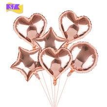 18 inch rose gold aluminum balloon heart-shaped pentagram ins birthday party paper tassel DIY pull flower