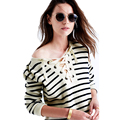 Women Bandage T shirt Casual Striped Tops Long Sleeve Split Knit Tops For Women Plus Size Spring Top Female