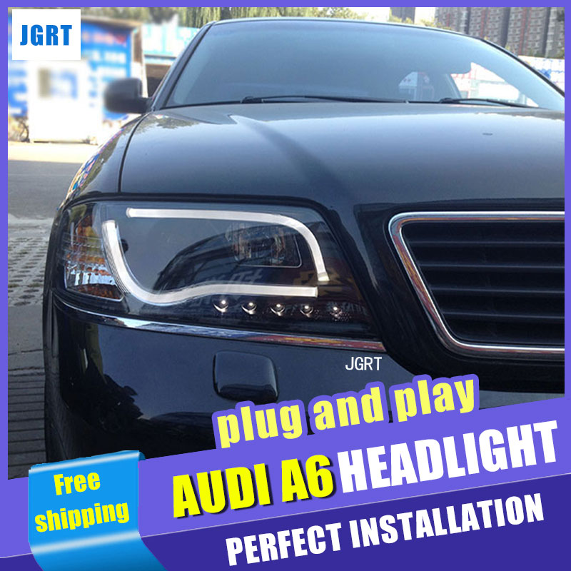 Car Styling Headlight assembly 1999-2004 for AUDI A6 DoubleU Angel Eye LED DRL Lens Double Beam H7 with hid kit 2 pcs. hireno headlamp for peugeot 4008 5008 headlight headlight assembly led drl angel lens double beam hid xenon 2pcs