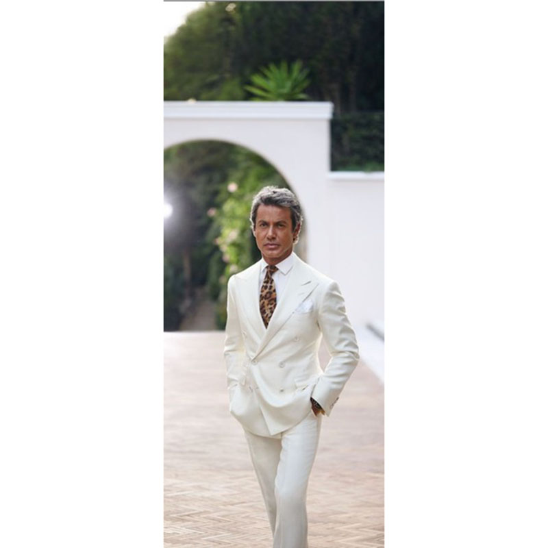 2017 Latest Coat ivory Double Breasted Wedding Suits for Men Terno Slim Fit mens suit smoking Tuxedo 2 Piece Blazer Masculino