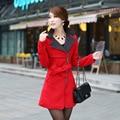 Новых осенью и зимой женщин красный пальто длинный участок двухсторонней шерстяные пальто стоять воротник Тонкий пиджак с Поясом и погоны WE036