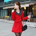 Nova seção longo casaco de outono e inverno as mulheres vermelho Double-sided casaco de lã gola casaco Fino com Faixa e dragonas WE036