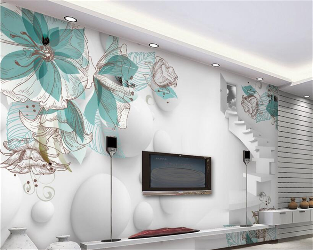 Beibehang 3D Wallpaper Stereo Flower Living Room TV Wall Wall Decorative Living Room Bedroom Mural photo wallpaper for walls 3 d flower butterfly pattern pvc tv wall bedroom room decorative wall sticker coffee
