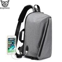 BAIJIAWEI USB Charging Shoulder Bags Multifunction Chest Bag Men Oxford Cloth Waterproof Messenger Bag Big Capacity