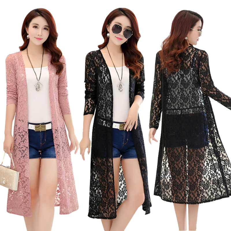 34a9d4731f0 Kimono Cardigan Women Long Lace Womens Tops And Blouses Plus Size 5XL Long  Sleeve Summer 2018 Elegant Beach Blouse Shirt Female