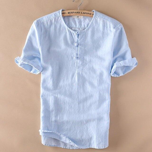 1ee8419eaaca2f Mężczyzna Pulower Lniane Koszule Z Krótkim Rękawem Lato Oddychające  Mężczyźni Jakości Koszule Slim fit Solidna Bawełna