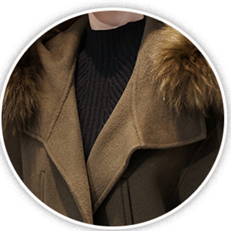 Lâche Hiver Épais Grand Couleur Solide Survêtement Femmes Long Gray Col 2018 Nouvelle Manteau Femelle Ly257 À Automne Laine armygreen De Et 4qwvnF