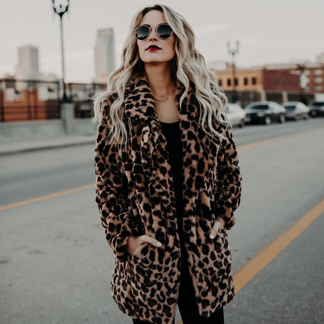 Leopard Faux Fur Plush Hairy Coat Women Autumn Winter Plus Cashmere Fluffy Outwear Elegant Warm Fake
