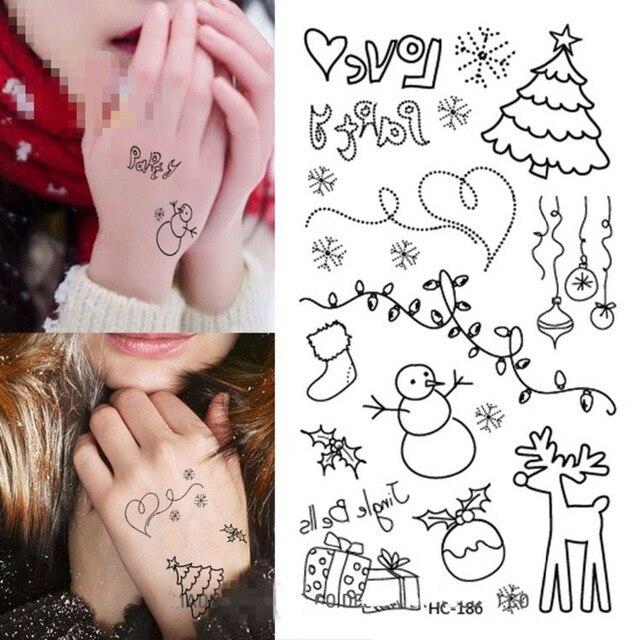 Us 1 29 Aliexpress Com Buy 4pcs Newly Christmas Tattoo Black White Henna Temporary Tattoo Sticker Flash Eye Tattoos Temporary Tatoo Stencils For