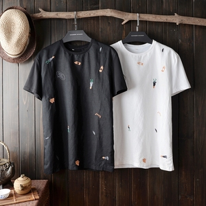 Image 5 - 2020 Hot Sale Mens Cool Short Sleeved Cartoon Embroidered Linen Shirt Round Collar Slim Fit Mens Summer Clothes Sleeved Shirt