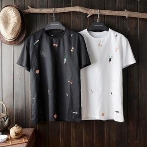 Image 5 - Camiseta de manga corta para hombre, camisa de lino con bordado de dibujos animados, cuello redondo, camisa de manga corta ajustada para hombre 2020