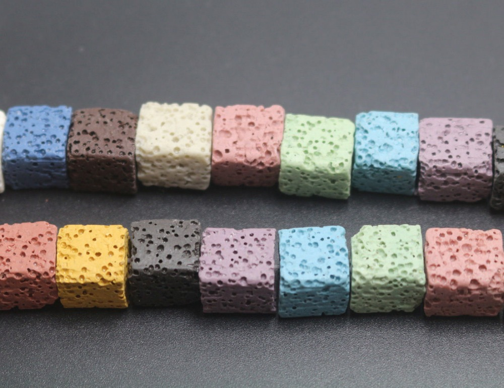 1 Strand/lot Jewelry & Accessories Beads & Jewelry Making 8mm Lava Cubes Loose Beads Stone Beads 45 Pieces/ Strand Multi-color For You Choose