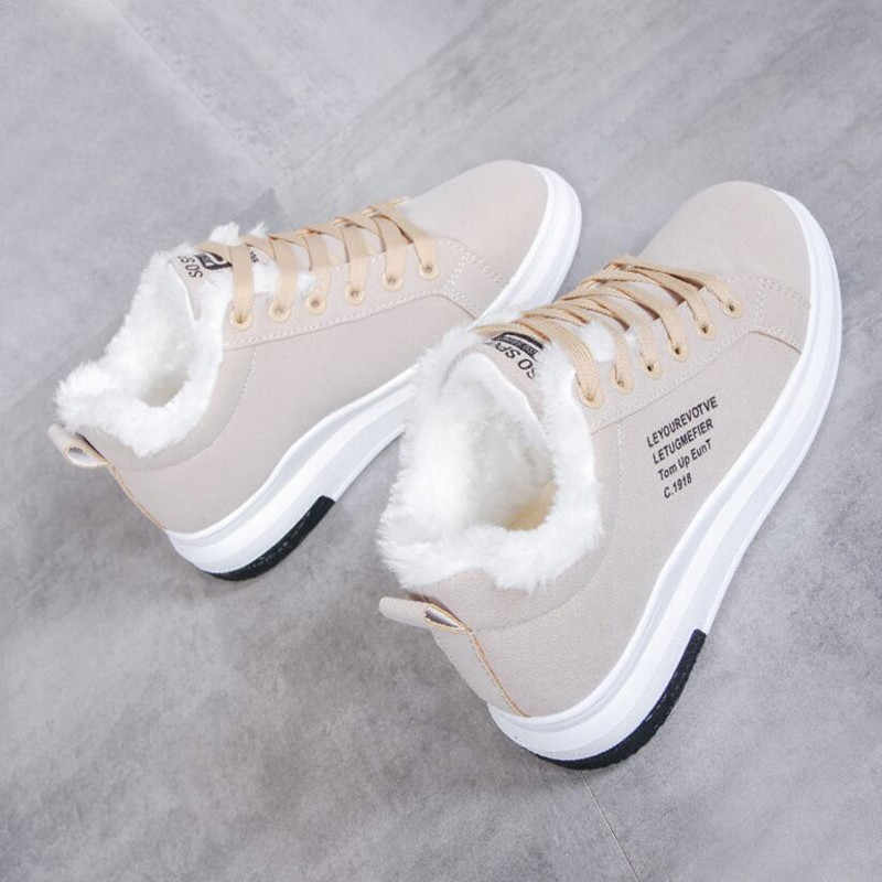 נעלי נשים חורף נשים נעלי פרווה חמה קטיפה גברת נעליים יומיומיות תחרה עד אופנה סניקרס Zapatillas Mujer פלטפורמת שלג מגפיים