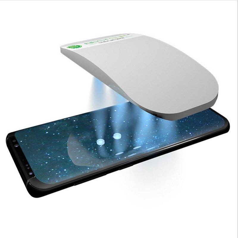 Жидкое полный клей 3D закаленное Стекло Экран протектор с установки комплекта для samsung Galaxy S9 S9 плюс 2 шт. Стекло с 1 УФ-излучения