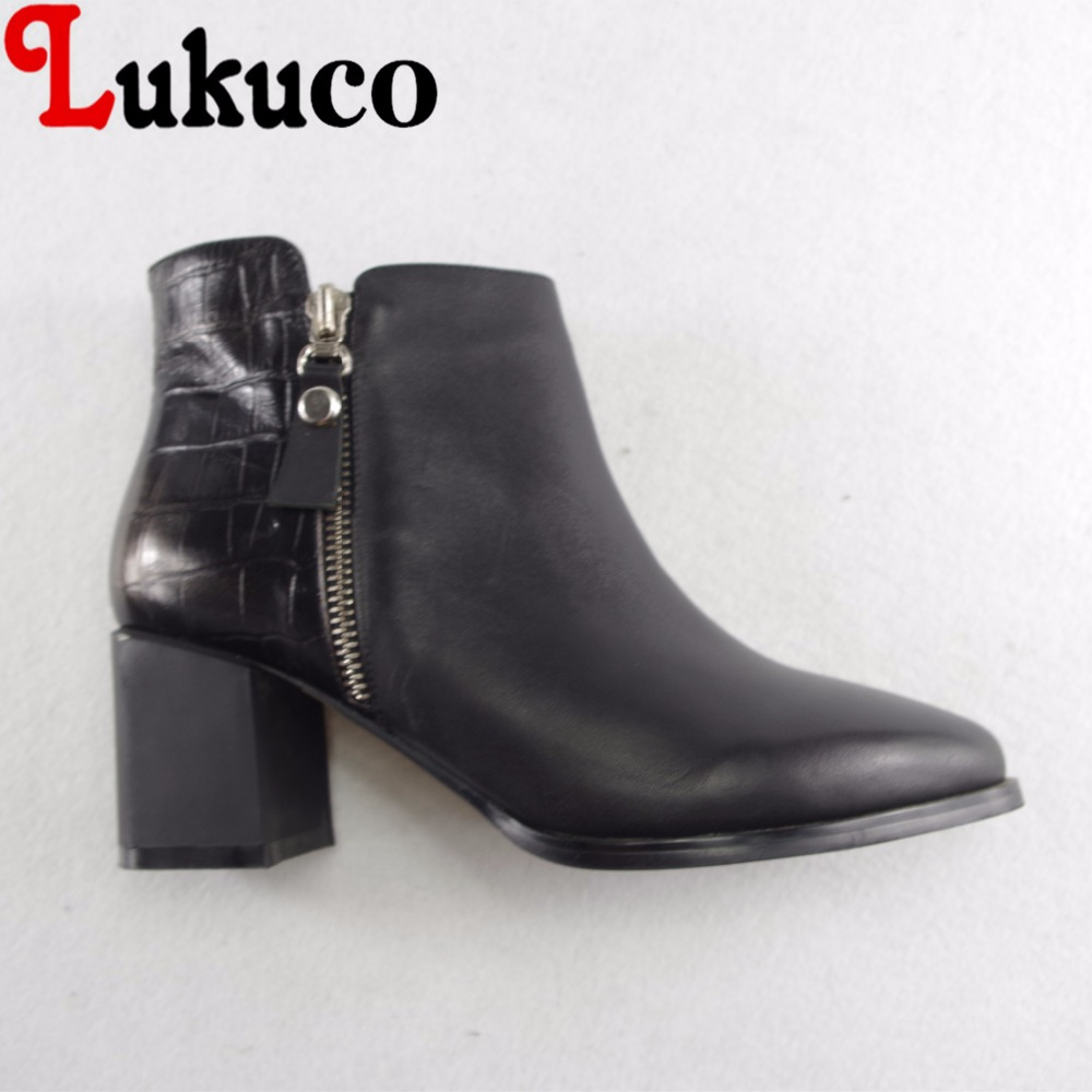 Lukuco pure color women pointed toe boots microfiber made zip design med square heel shoes with pigskin inside