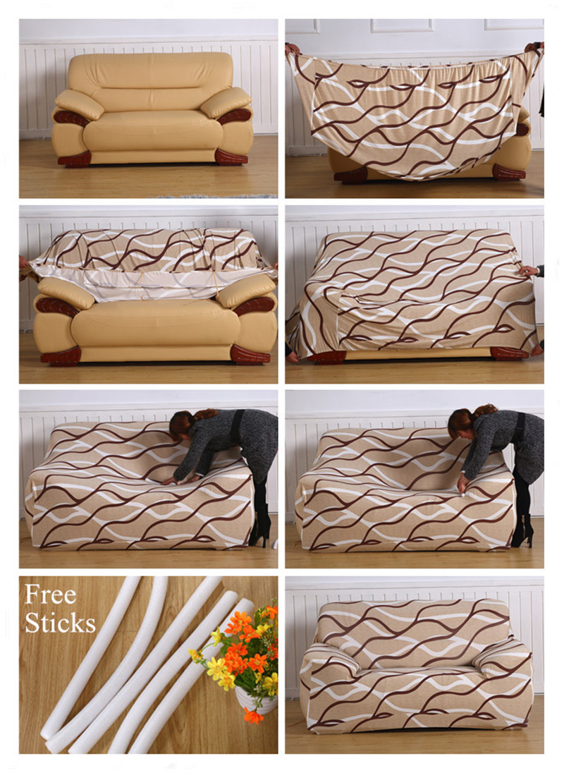 Stretchable Sofa Cover with Elastic for Sectional Couch Protects Sofa from Stains Damage and Dust 6