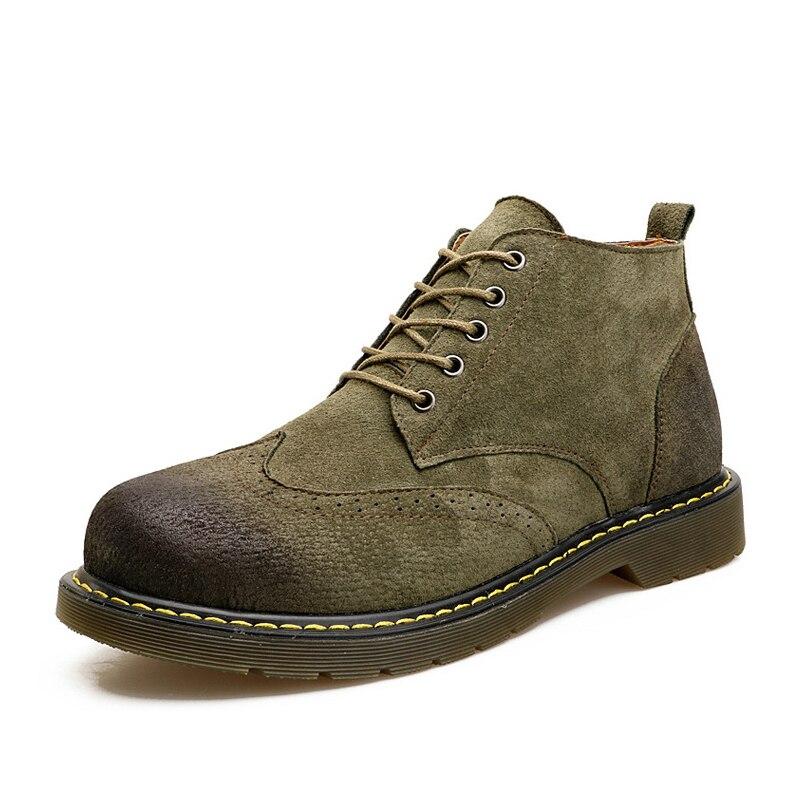 Couture Hommes Mode Cheville En Chaussures Jusqu'à 914 Qualité Hiver green Vintage Cuir De Fonirra Haute Automne Brown Bottes gray La Dentelle B60xwX