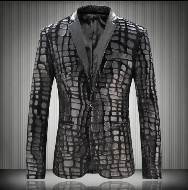 Primavera y otoño nuevos hombres coreanos lavar la ropa chaquetas de cuero casual plaid chaqueta de hombre trajes del cantante traje de discotecas vestido