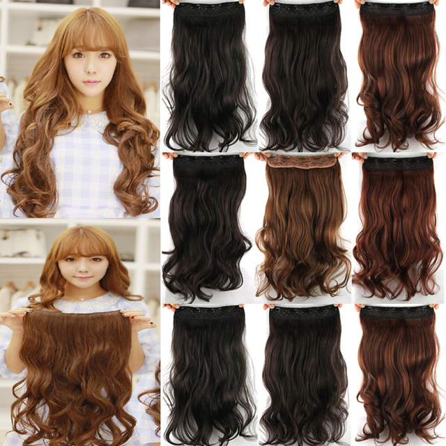 Clip in hair extensions hairpiece 17inch 43cm 140g curly wavy hair clip in hair extensions hairpiece 17inch 43cm 140g curly wavy hair extension synthetic heat resistant multicolor pmusecretfo Images
