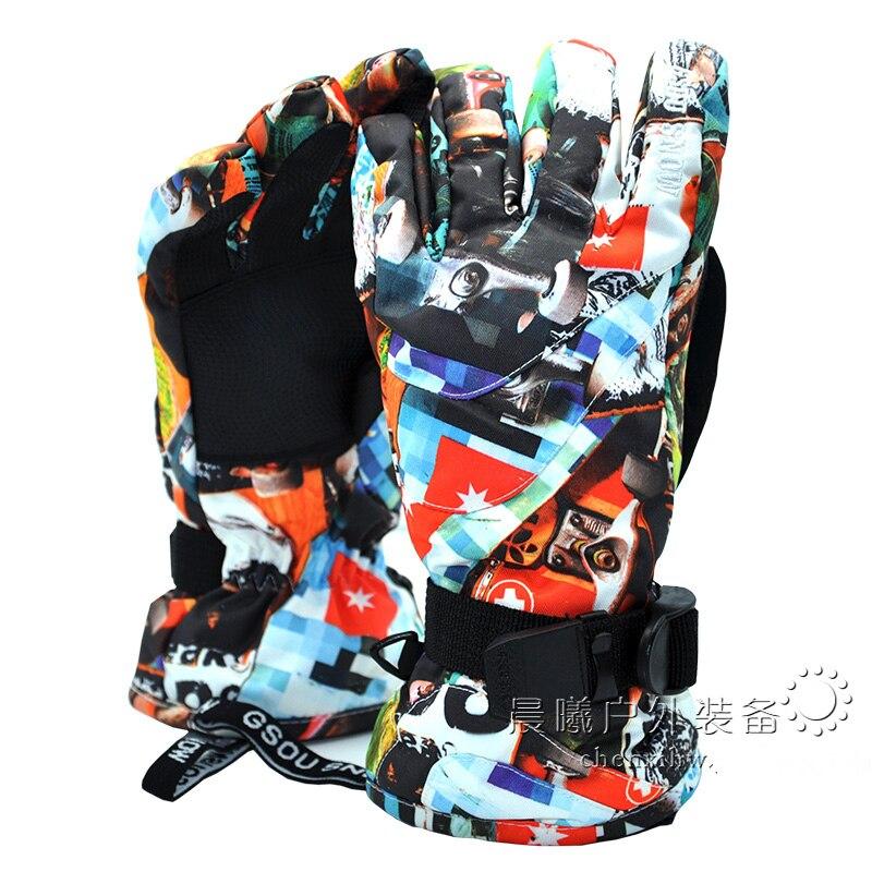 цена на 2018 GSOU SNOW Kids Ski Gloves Boys Girls Skiing Snowboard Gloves Windproof Waterproof Skid Hard-wearing Gloves Thermal Gloves